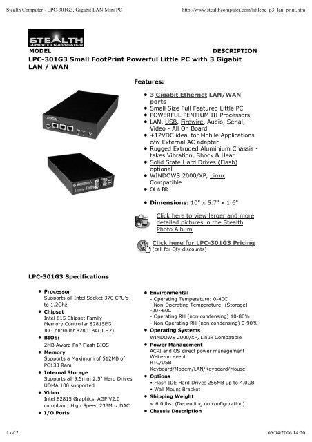 Stealth Computer - LPC-301G3, Gigabit LAN Mini PC - ESO