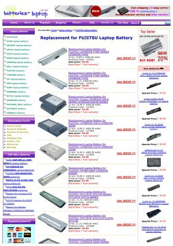 Replacement for FUJITSU Laptop Battery - Laptop Batteries