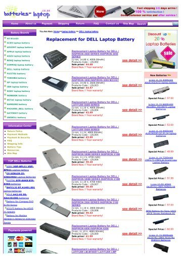 Replacement for DELL Laptop Battery - Laptop Batteries