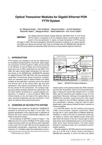 Optical Transceiver Modules for Gigabit Ethernet PON FTTH System