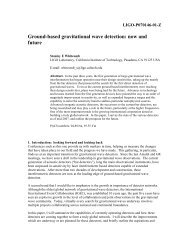Ground-based gravitational wave detection - Ligo - California ...