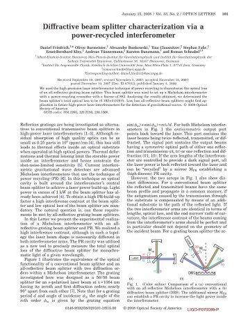Diffractive beam splitter characterization via a power-recycled ... - Ligo