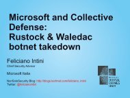 Microsoft and Collective Defense: Rustock & Waledac ... - Roma 2011