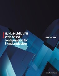 Nokia Mobile VPN Web-based configuration for Symbian devices