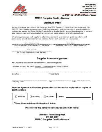 supplier quality manual template - supplier quality requirements manual optek technology