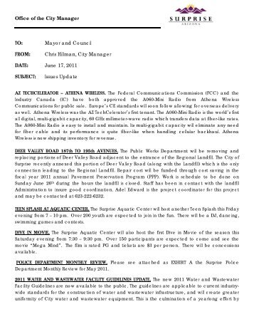 06172011 Issues Update.pdf - City of Surprise