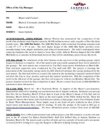 03182011 Issues Update.pdf - City of Surprise