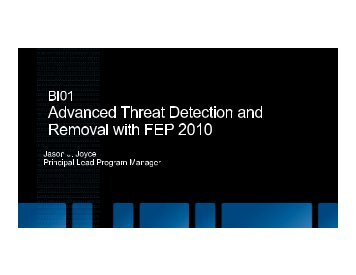 Advanced Threat Detection and Removal with FEP 2010