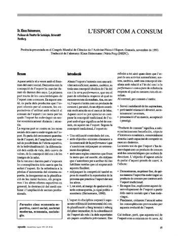 L'ESPORT COM A CONSUM - apunts