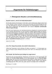 Argumente für Holzheizungen - Heinz Krokowski