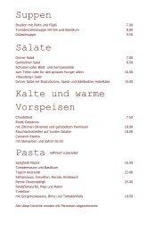 Suppen Salate Kalte und warme Vorspeisen - Restaurant ...