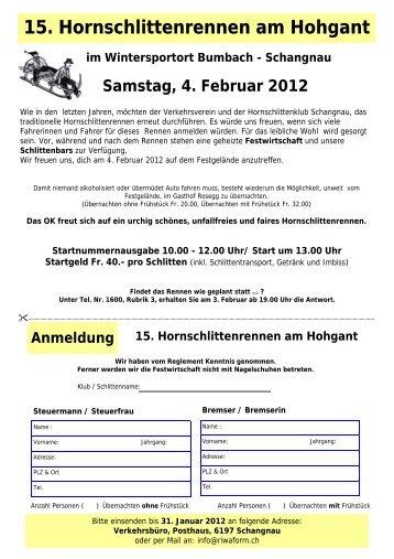 Anmeldung Hornschlitten 12 - Schangnau - Bumbach ...