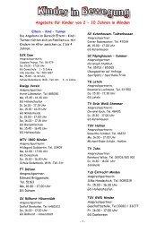 Angebote für Kinder von 2 – 10 Jahren in Minden - Stadt Minden