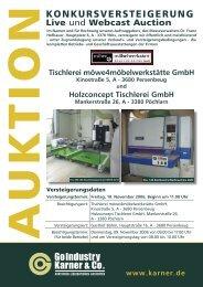 Konkursversteigerung / Live and Webcast Auction