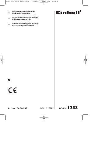 Art.-Nr.: 34.001.90 I.-Nr.: 11010 RG-EM 1233 φ - Einhell