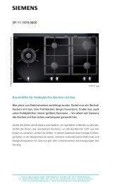 SPI 11-1079-0605 Das Größte für Hobbyköche: Kochen ... - Siemens