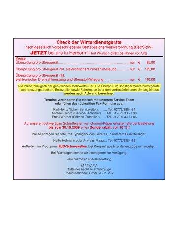 Check der Winterdienstgeräte JETZ - Minufa