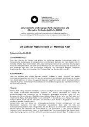 Die Zellular Medizin nach Dr. Matthias Rath - Krebsliga Schweiz