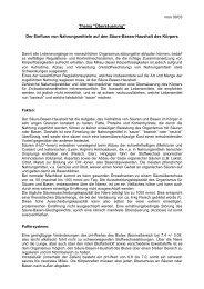 """Thema """"Übersäuerung"""" - Dr. Kurt A. Moosburger"""