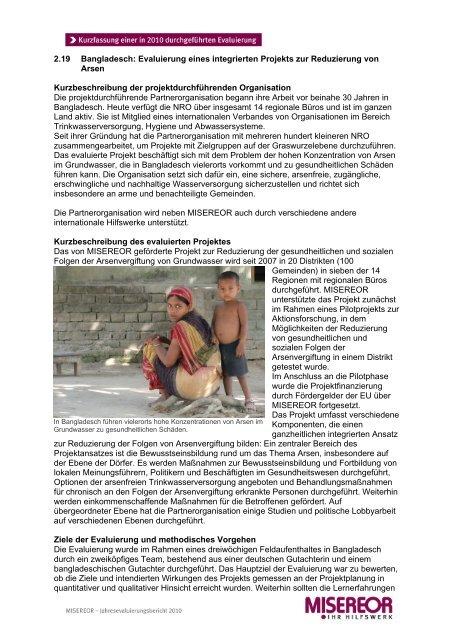 2.19 Bangladesch: Reduzierung von Arsen im Trinkwasser - Misereor