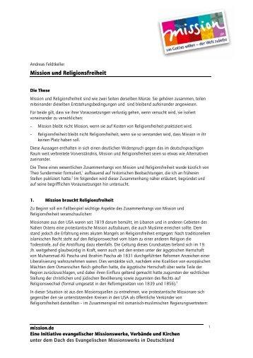 Mission und Religionsfreiheit - mission.de