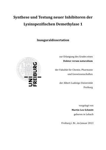 Synthese und Testung neuer Inhibitoren der Lysinspezifischen ...