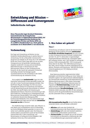 Entwicklung und Mission — Differenzen und ... - mission.de