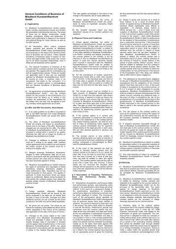 General Conditions of Business of Misslbeck Kunststoffzentrum GmbH