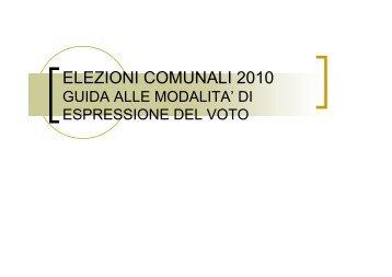 ELEZIONI COMUNALI 2010 - Consiglio Regionale Veneto
