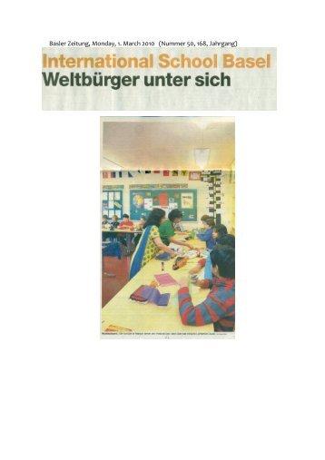 Basler Zeitung, Monday, 1. March 2010 (Nummer 50, 168, Jahrgang)