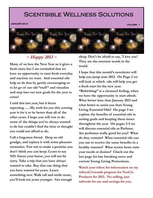 January Newsletter - Scentsible Wellness Solutions