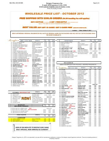 dfi price list august 2012 xlsx designer fragrances inc