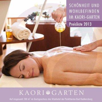 KAORI GARTEN Preisliste - Vital Hotel