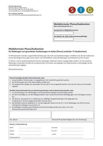 Meldeformular Phono - Schweizerische Interpretengenossenschaft ...