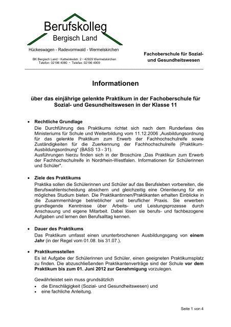 Information Zum Praktikum Berufskolleg Bergisch Land