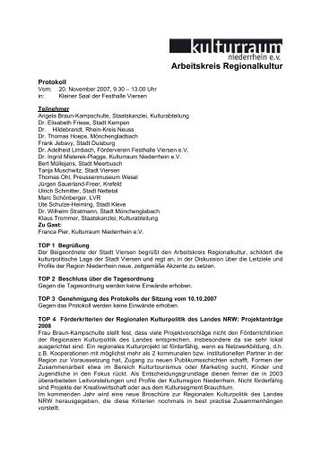 Protokoll 20. November 2007 - Kulturraum Niederrhein eV