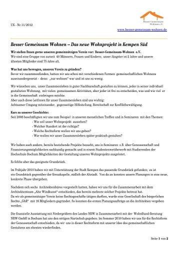 Besser Gemeinsam Wohnen – Das neue Wohnprojekt in Kempen Süd
