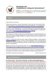 Newsletter Februar 2013 - Dialog der Generationen