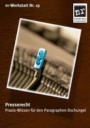 nr-Werkstatt 19: Presserecht - Netzwerk Recherche
