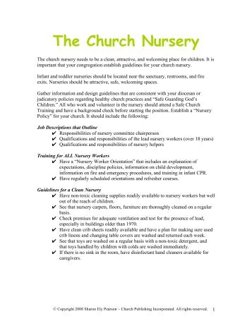 Church Nursery Policies And Procedures Thenurseries