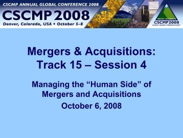Mergers & Acquisitions: Track 15 – Session 4 - Exel