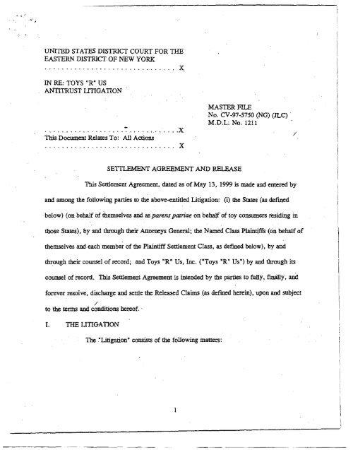 Toys R Us Antitrust Litigation Settlement Agreement And New York
