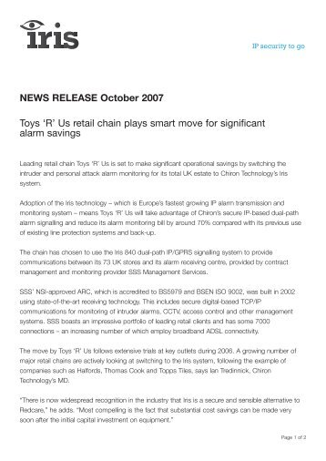 Toys R Us retail - Chiron Security Communications