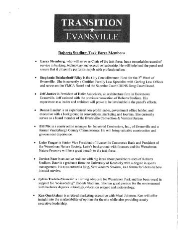 Roberts Stadium Task Force Members   Evansville Courier U0026 Press
