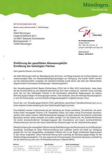 Anschreiben Grundstückseigentümer - Stadt Münsingen