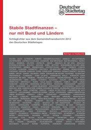 Stabile Stadtfinanzen – nur mit Bund und Ländern - Deutscher ...