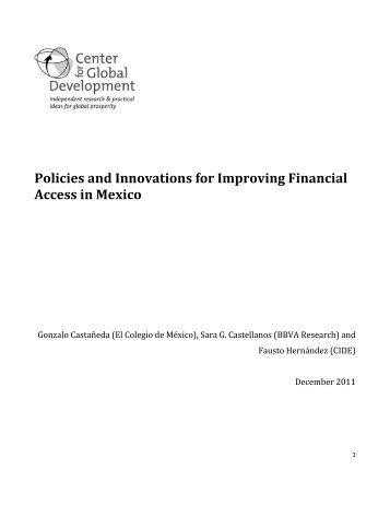 Policies and Innovations for Improving Financial Access in Mexico