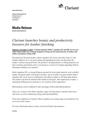 Clariant launches beauty and productivity boosters for leather finishing