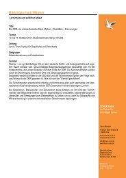 Geplanter Programmablauf Bildungsurlaub Weimar - DDR - Forum Unna