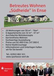 """Betreutes Wohnen """"Südheide"""" in Ense - Sparkasse Werl"""
